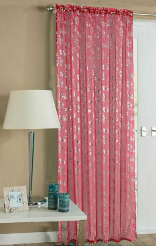 RED COLOUR SLOT TOP READY MADE STYLISH FLORAL DESIGN LIGHT NET VOILE PANEL